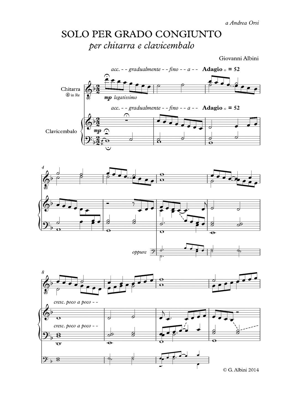"""Albini, """"Solo per grado congiunto"""", per chitarra e clavicembalo (prima pagina)."""