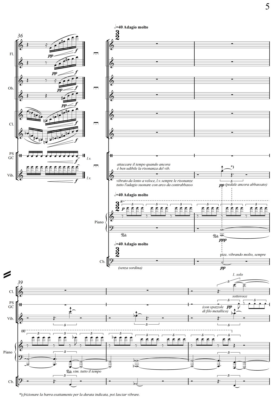 """G. Albini - """"Concerto Sinottico"""" (2011) Corale #2 per pianoforte e orchestra - quinta pagina."""