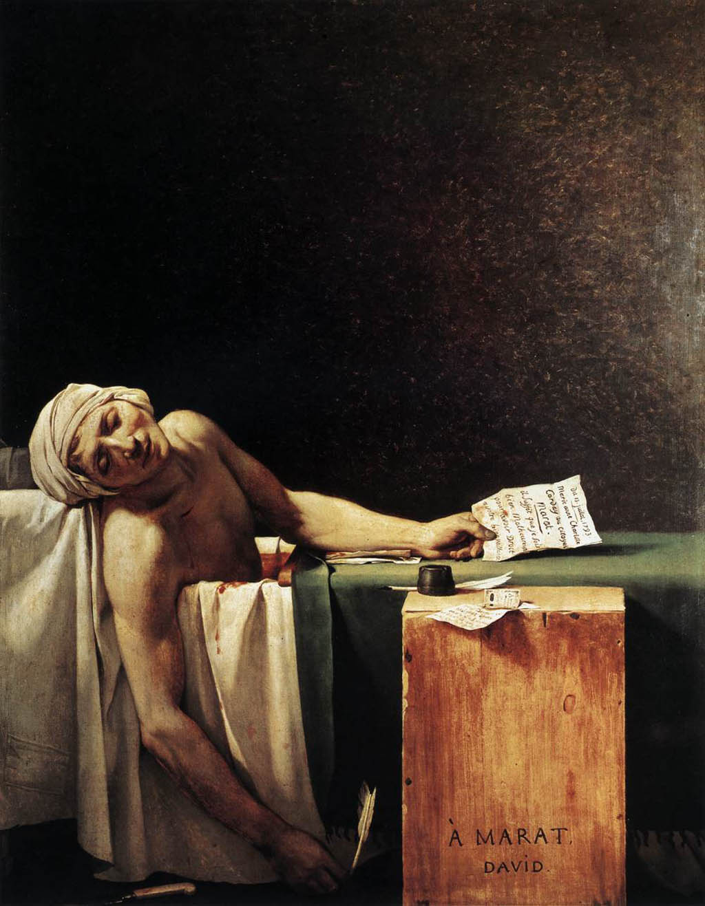 """La morte di Marat"" di Jacques-Louis David (1793)."